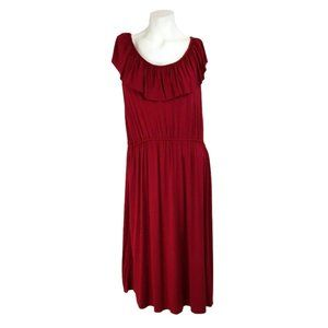 Pink Rose Berry Red Sleeveless Ruffle A-Line Dress